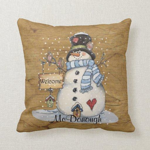 Folk Art Snowman on Old Newspaper Pillow  Zazzle