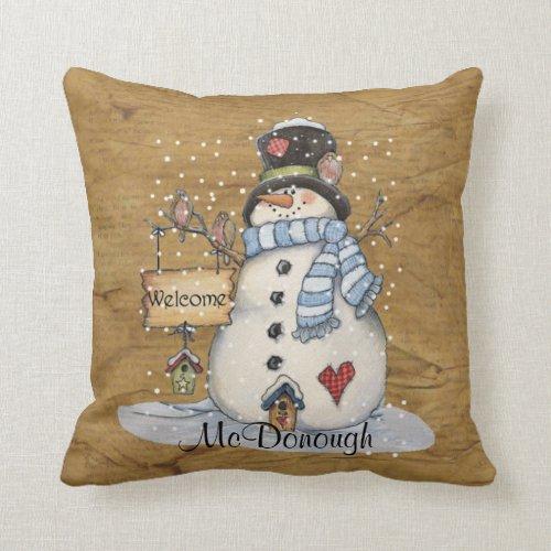 Folk Art Snowman on Old Newspaper Throw Pillow