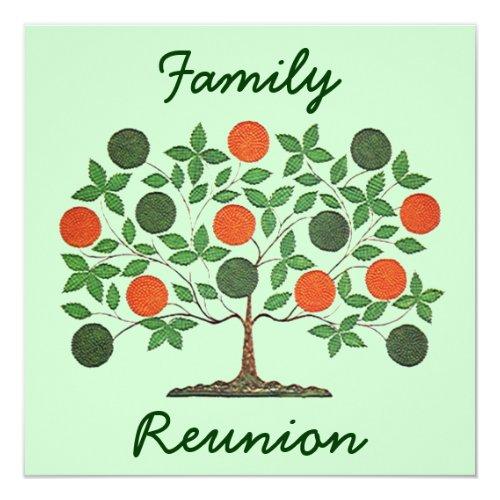 Folkart Family Tree Reunion Party Invitations