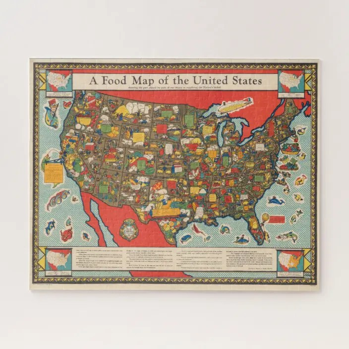 Find hundreds of free jigsaw puzzles to piece together on your computer or to share with friends. Food Map Of The United States Jigsaw Puzzle Zazzle Com