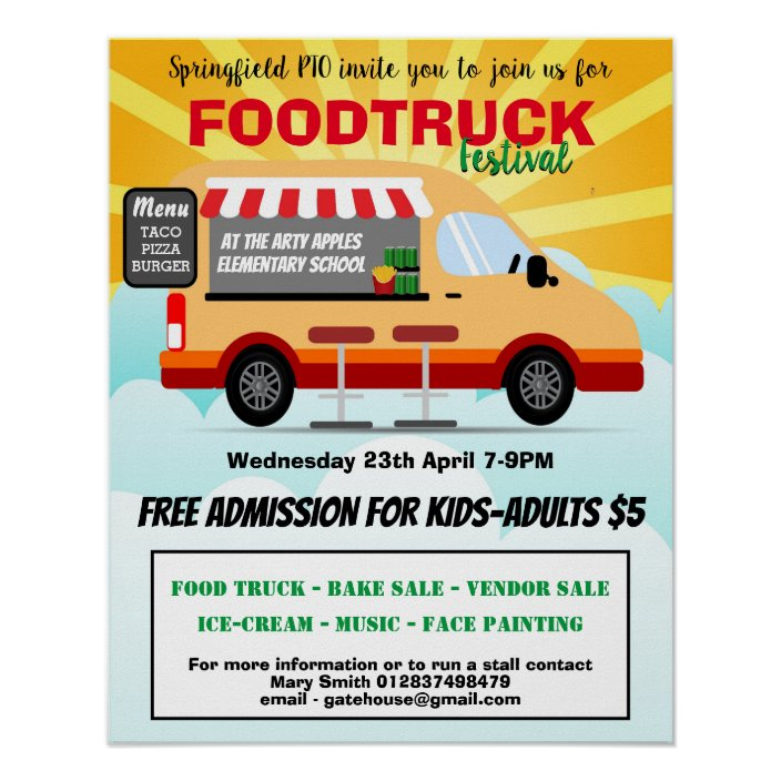 food truck festival pta school fundraising poster zazzle com