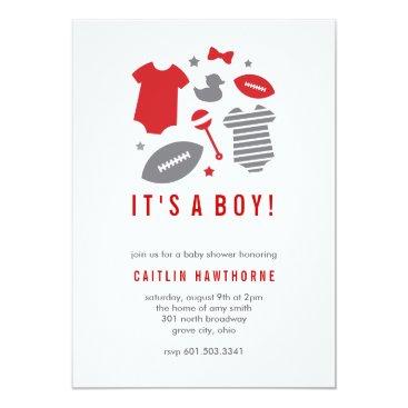 Football Boy Baby Shower Invitation