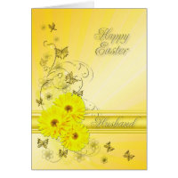 For Husband, Easter card with yellow flowers