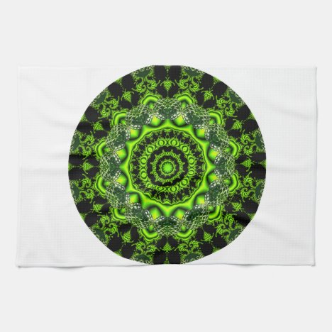 Forest Dome Mandala, Abstract Green Woods Kitchen Towel