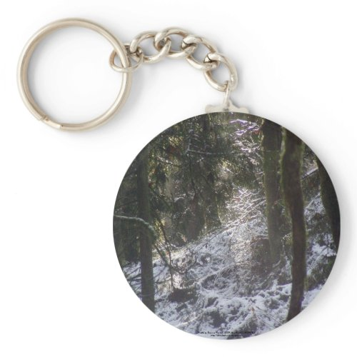 Forest Sun Rays in the Snow #24 keychain