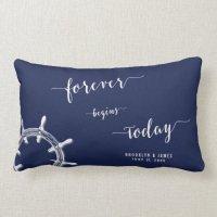 Forever Nautical Navy Blue Lumbar Wedding Pillows | Zazzle