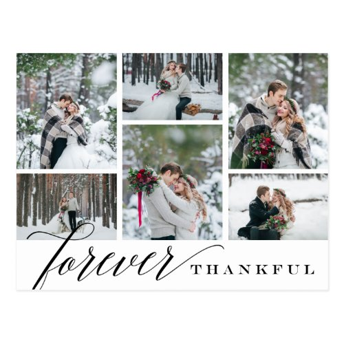 Forever Thankful Wedding Photo Collage Thank You Postcard
