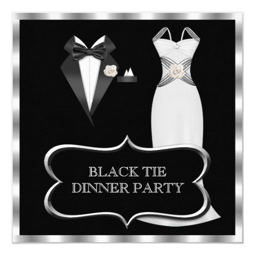 Formal Dinner Party White Black Tie Card
