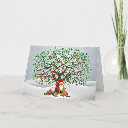 Fox and Christmas Tree Holiday Card