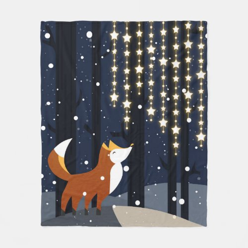 Fox and strings of star lights in the snowy forest fleece blanket