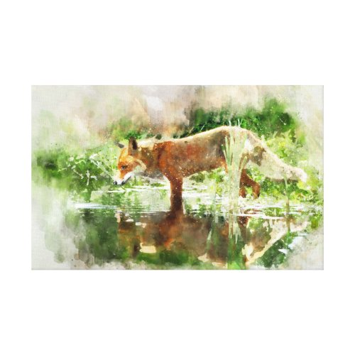 Fox drinking to water canvas print