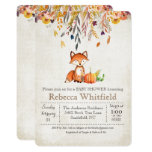 Fox Fall Leaves Pumpkin Baby Shower Invitation