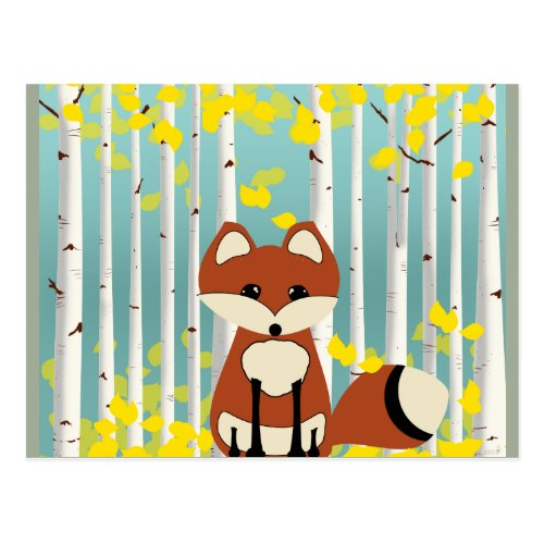 Fox in the Fall Birches Postcard