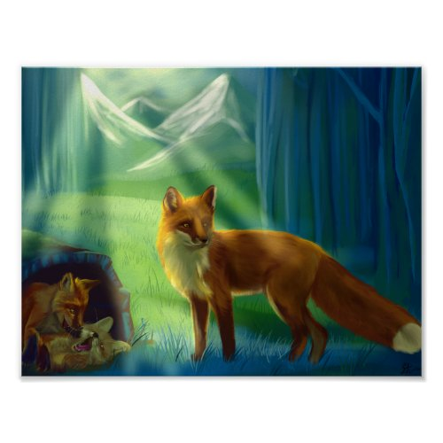 Foxes in the forest Poster