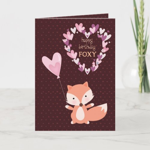 Foxy Happy Birthday with Hearts Card