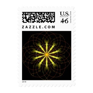 Fractal flower postage stamp