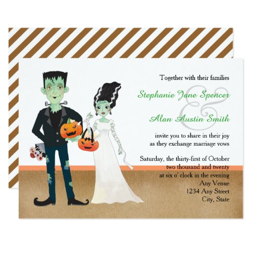 Frankenstein and Bride Halloween Wedding Invitation