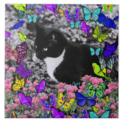 Freckles in Butterflies II - Tuxedo Cat Tile