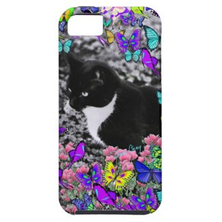 Freckles in Butterflies II - Tuxedo Kitty iPhone 5 Cases