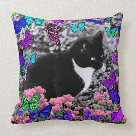 Freckles in Butterflies III, Tux Kitty Cat Throw Pillow