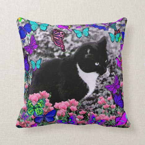 Freckles in Butterflies III, Tux Kitty Cat Throw Pillow