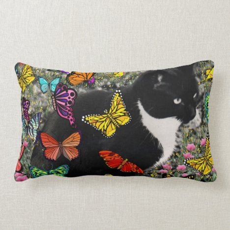 Freckles in Butterflies - Tux Kitty Cat Lumbar Pillow