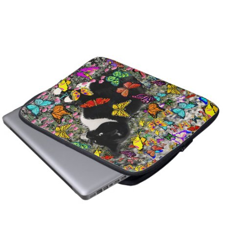Freckles in Butterflies - Tuxedo Kitty Laptop Sleeve