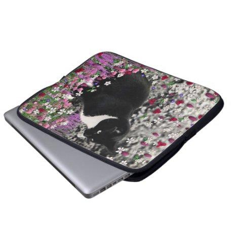 Freckles in Flowers II - Tuxedo Kitty Cat Computer Sleeve
