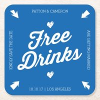 Free Drinks Save the Date Coaster | Zazzle
