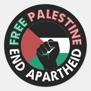 Free Palestine End Apartheid Flag Fist Black Classic Round Sticker