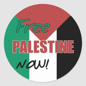 Free Palestine Now Palestinian Flag Classic Round Sticker