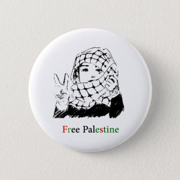 Free Palestine rounded buttom Button