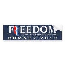 Freedom, Pro-Romney 2012 Bumper Sticker Decal
