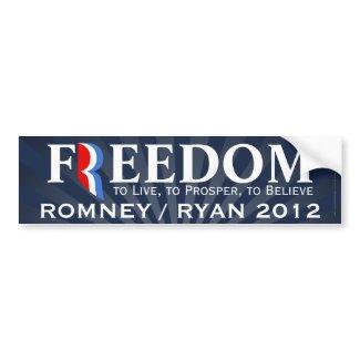 Freedom, Romney/Ryan 2012 Bumper Sticker Decal