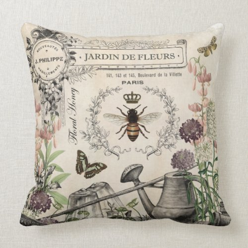 FRENCH BEE GARDEN THROW PILLOW
