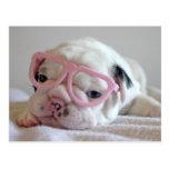 French Bulldog in Heart Glasses Postcard