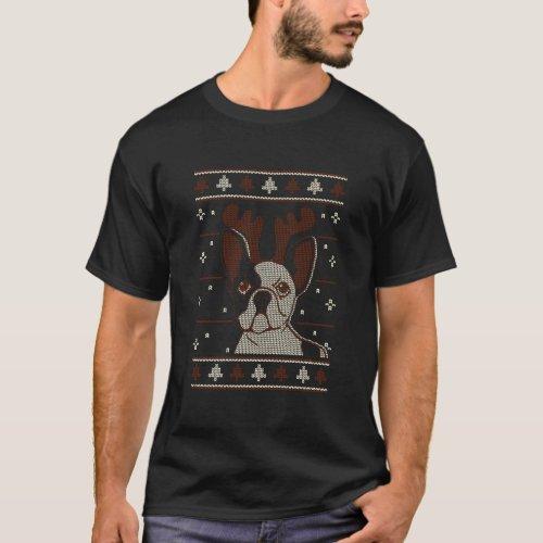 French Bulldog Ugly Christmas Pattern X Mas T-Shirt