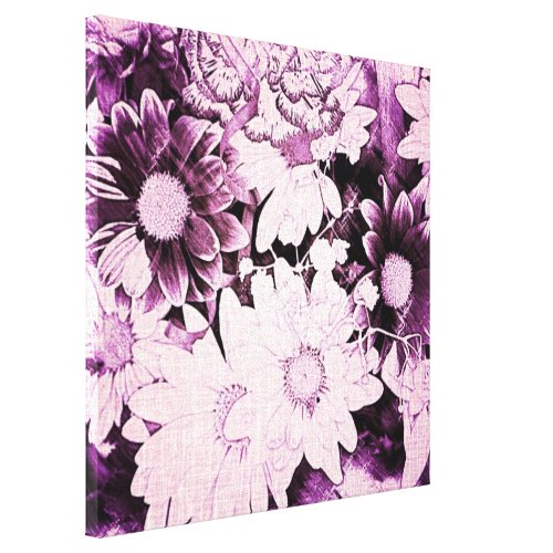 French country boho chic wildflower purple daisy canvas print
