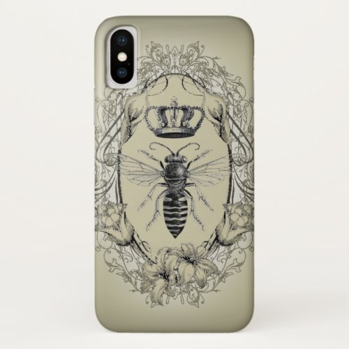 french country chic victorian crown queen bee iPhone x case
