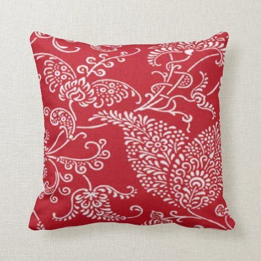 French Country Red MoJo Throw Pillow  Zazzle