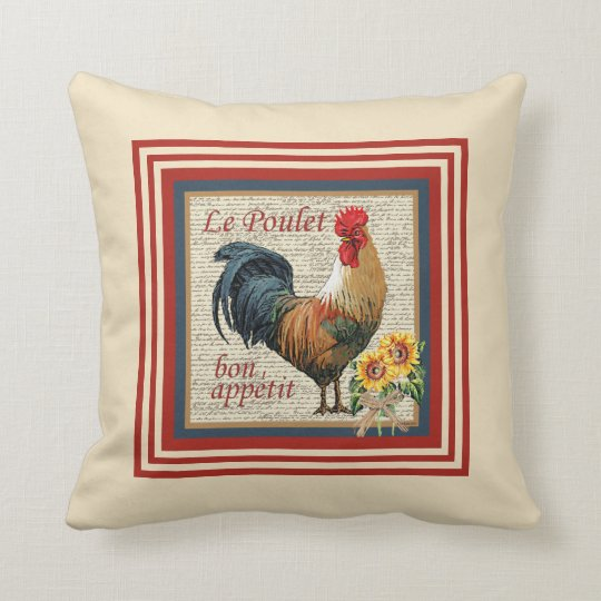 French Country Rooster Throw Pillow  Zazzlecom