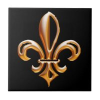 French Golden Fleur de Lis Tile
