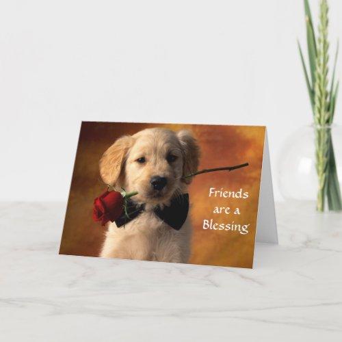 Friends are a Blessing Golden Retriever Puppy Card