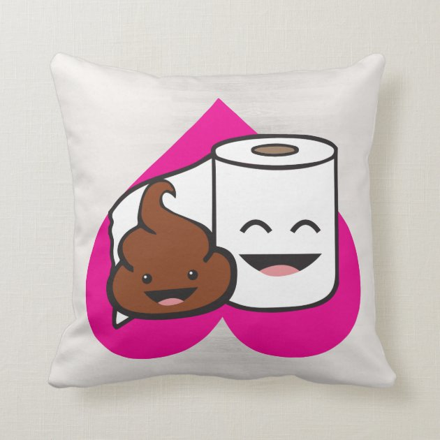 Friends Forever  Poop and Toilet Paper Roll Throw Pillow