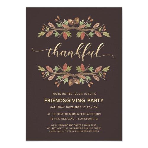 FRIENDSGIVING DINNER INVITE | THANKFUL FOLIAGE