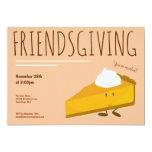 Friendsgiving Smiling Pumpkin Pie Slice Holiday Invitation