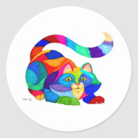 Frisky cat classic round sticker