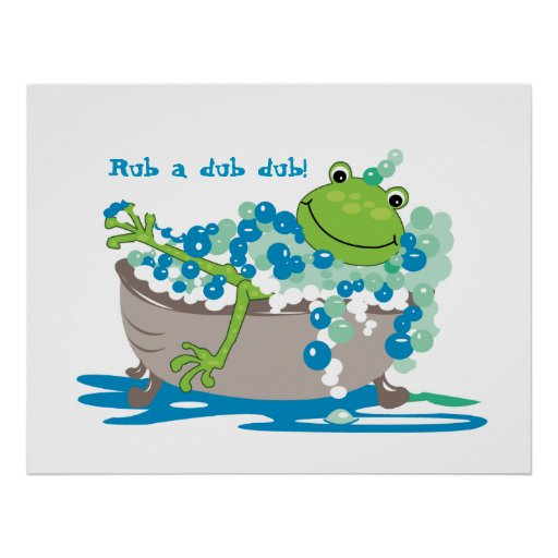 Frog In Tub Kids Bathroom Art Frog Bathroom Poster Zazzle