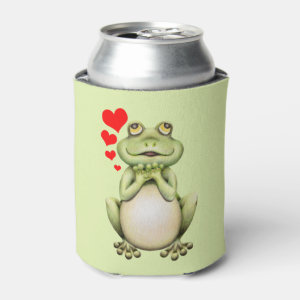 Frog Love Drawing Can Cooler