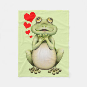 Frog Love Drawing Fleece Blanket